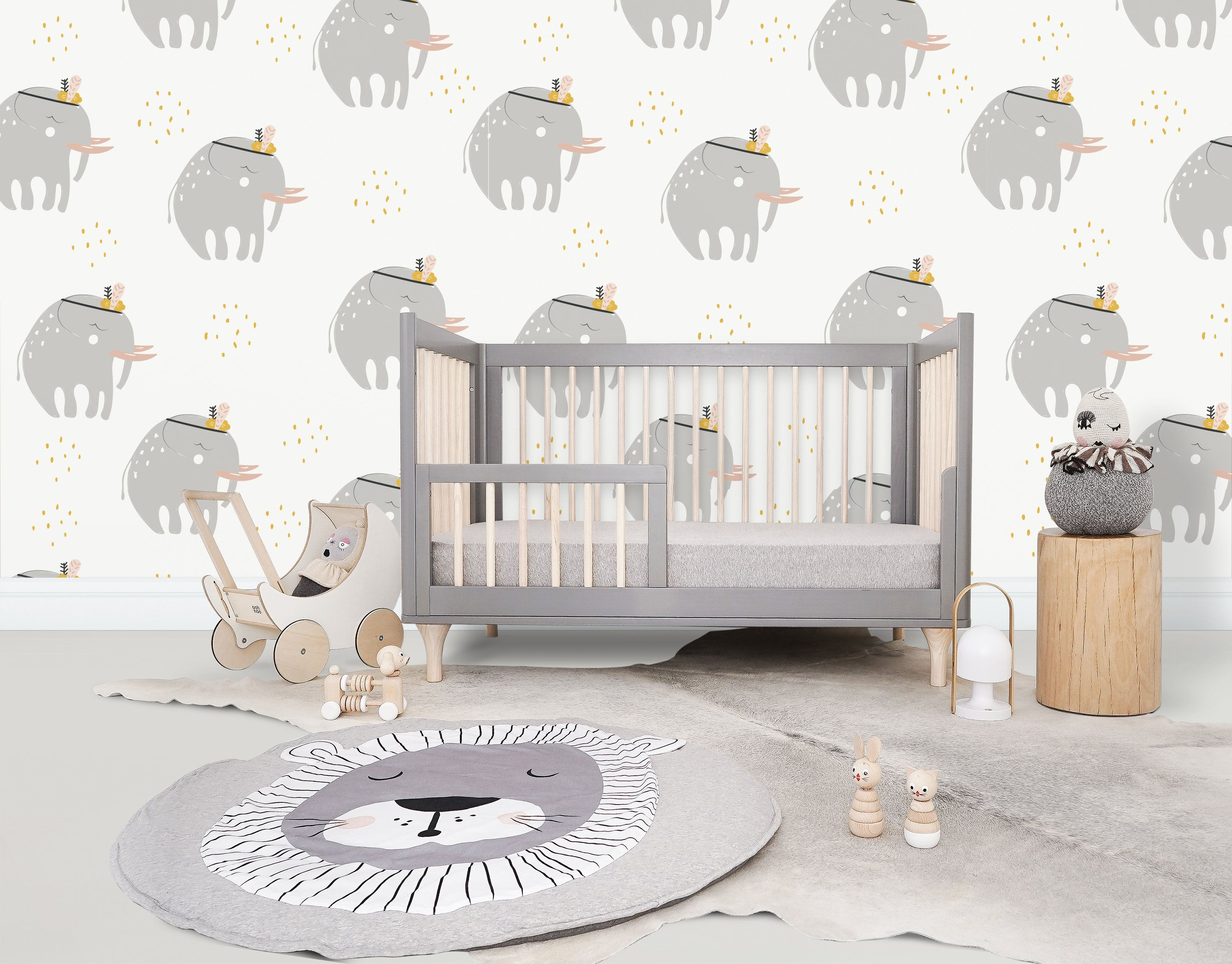 High Quality Repositionable Removable Self Adhesive Wallpaper Nursery Elephant Pattern Nursery Wallpaper Vinyl Wallpaper Self Adhesive Wallpaper