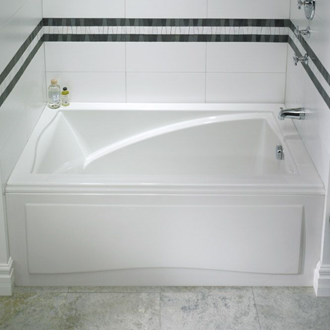 Neptune delight an alcove tub with style slide between for Deep alcove tub