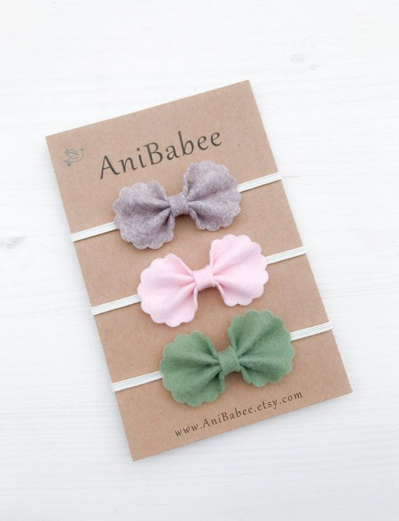 Felt Bow Headband Set, Baby Headband, Baby Bow Headband Set, Newborn Headband, Felt Bows, Baby Hair Bows, Baby Bows, Baby Headband Bows #babyhairaccessories