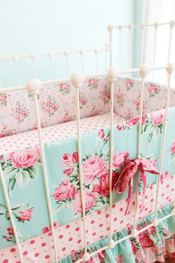 Girls Crib Bedding Bumper Set In Dusty Blue And Pink Romantic Blooms Floral Baby Bedding With Lace Crib Skirt Vintage Inspired Nursery Baby Girl Crib Bedding Baby Girl Bedding Shabby