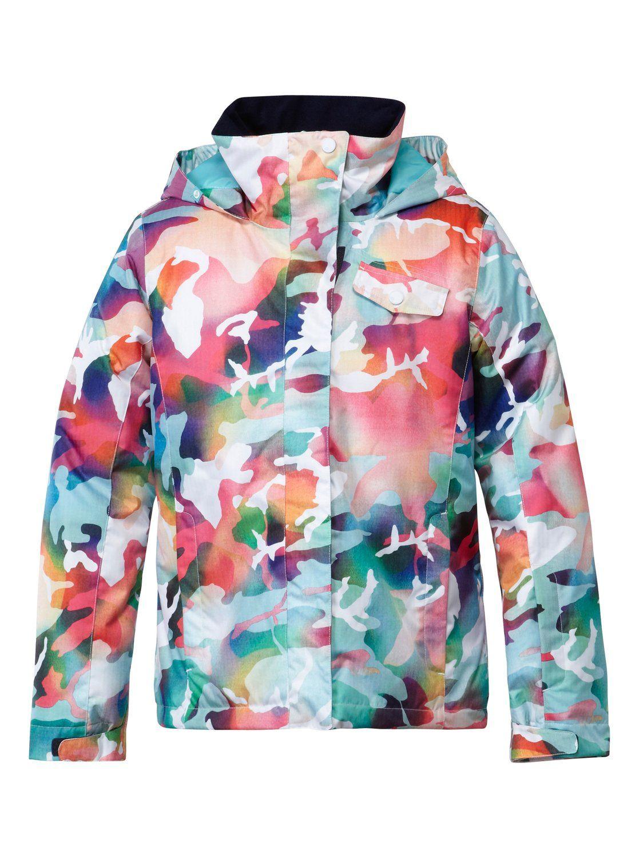 79858b66b roxy, Girls 7-14 Jetty Print Jacket, Bright White-8 (wbb8) | Ski ...