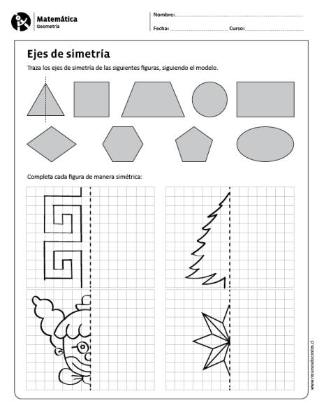 Matematica Geometria 3 Y 4 Basico Ejercicios De Simetria Actividades De Simetria Matematicas