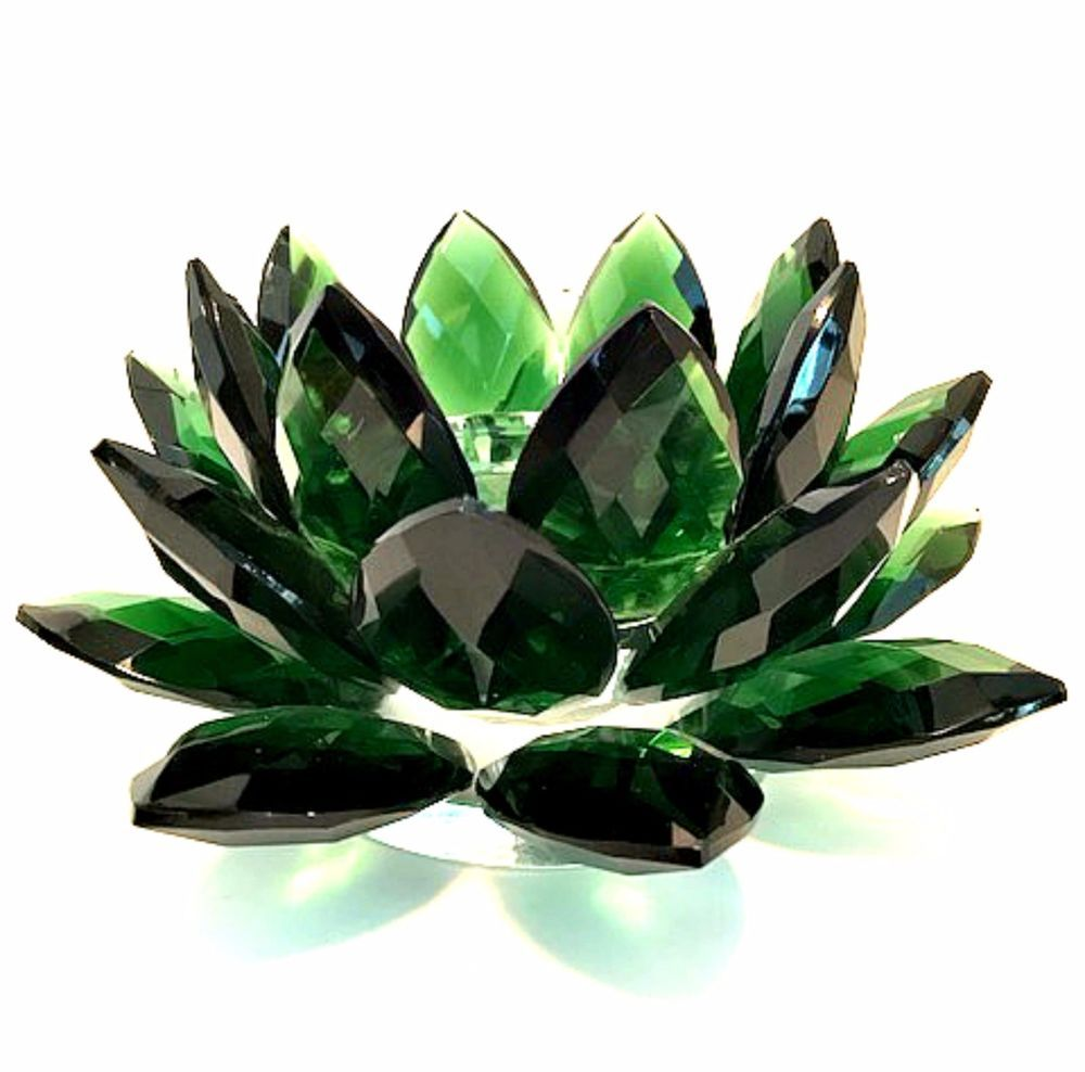 Sorelle Crystal Lotus Pillar Candle Holder Hand Crafted Green