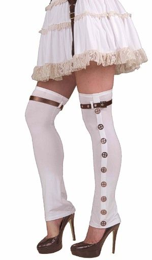 white ladies steampunk buckled thigh high boot spats