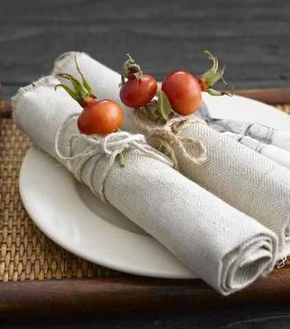 rose hips on napkins tied with twine