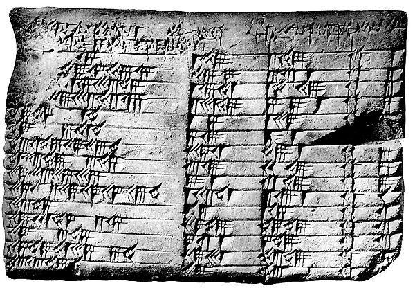 Plimpton 322 cuneiform tablet, containing a list of