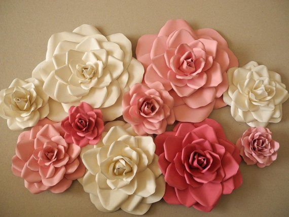 Set Of 10 Paper Flowers Nursery Wall Decor Nursery Paper Flowers
