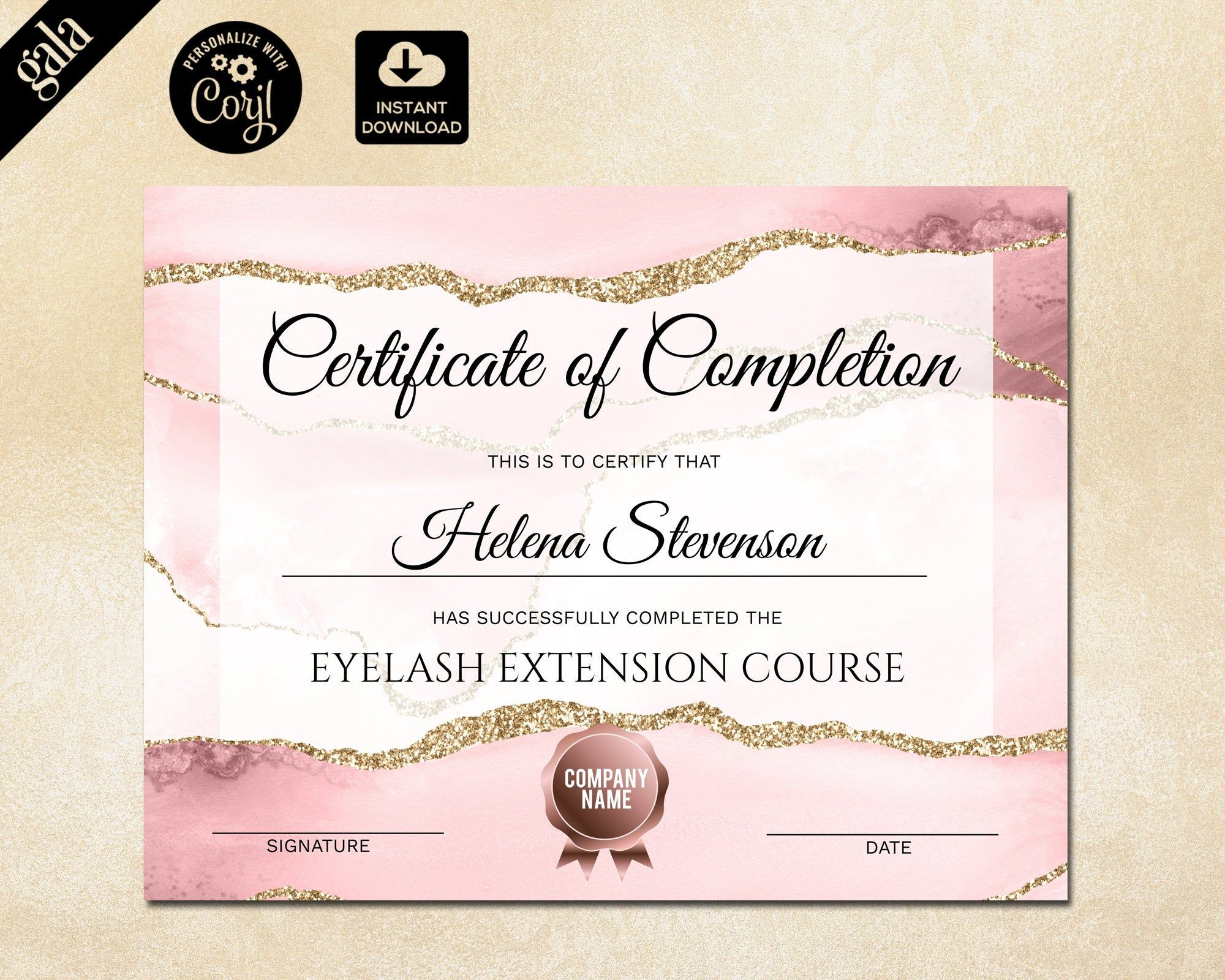 Certificate Of Completion Lashes Certificate Template Blush Etsy In 2021 Certificate Design Template Certificate Templates Certificate Of Completion