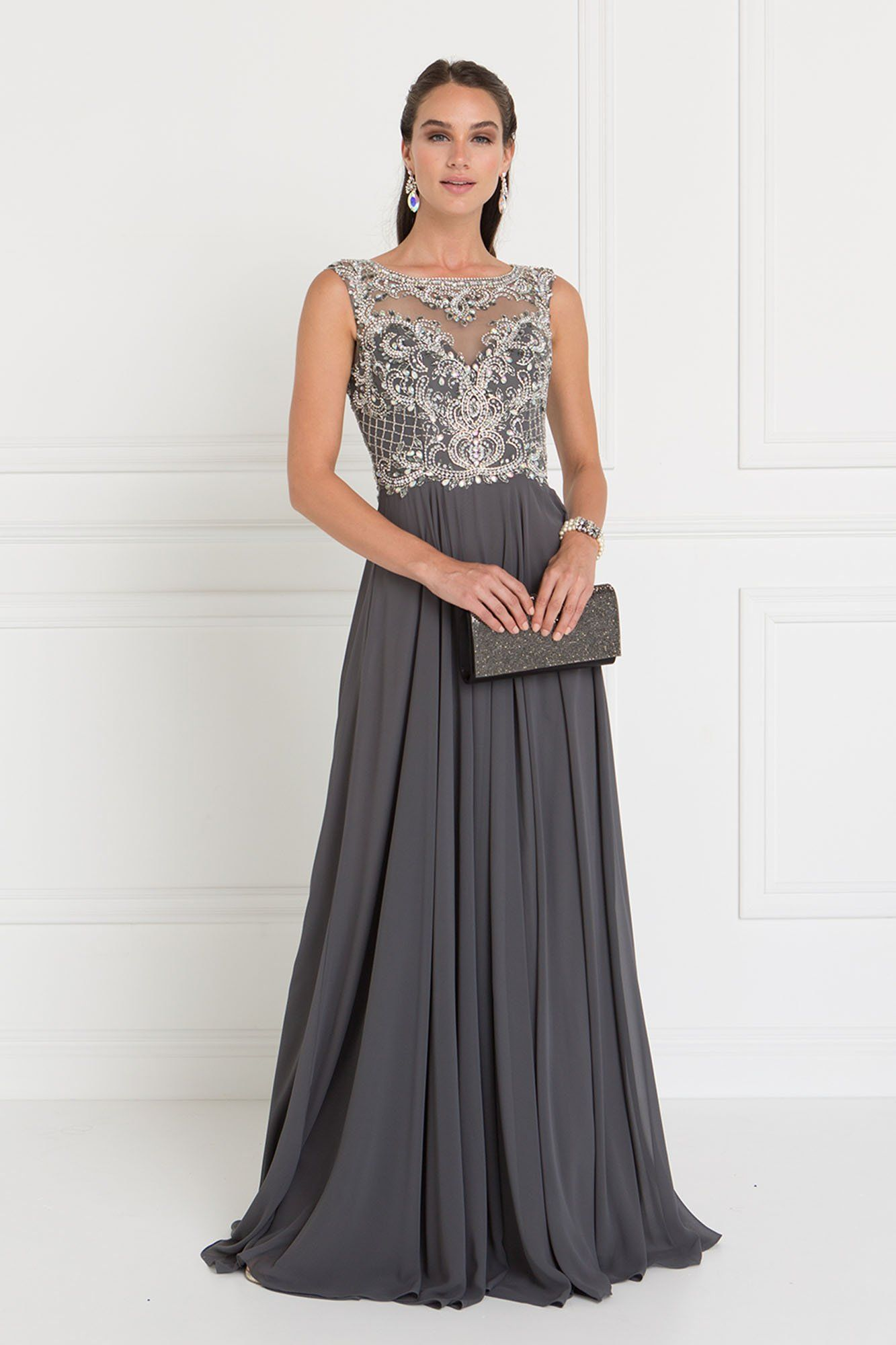23c711087265f GLS 1565 - Chiffon Illusion Sweetheart A-Line Long Dress with Cut-Out Back
