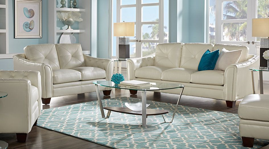 Picture Of Cindy Crawford Home Marcella Ivory Leather 3 Pc Living Room From Furniture Living Room Leather Leather Living Room Furniture Living Room Sets