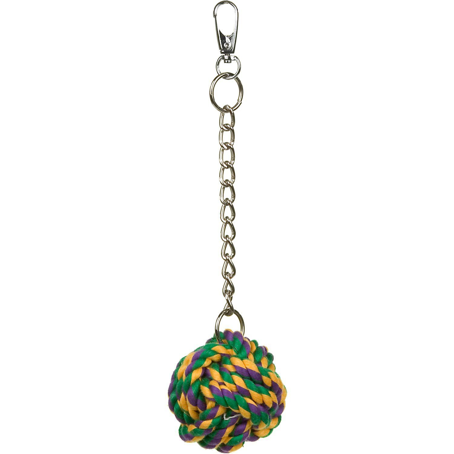 "Multipet+Nuts+for+Knots+Bird+Toy+-+10""L,+Adds+a+colorful+dimension+to+any+bird+cage.+Made+of+durable+rope+all+tied+up+in+knots+this+toy+is+sure+to+be+a+long-lasting+pet+pleaser.+Includes+a+durable+metal+chain+and+clasp+that+attaches+to+any+wire+cage. - http://www.petco.com/shop/en/petcostore/product/multipet-nuts-for-knots-bird-toy"
