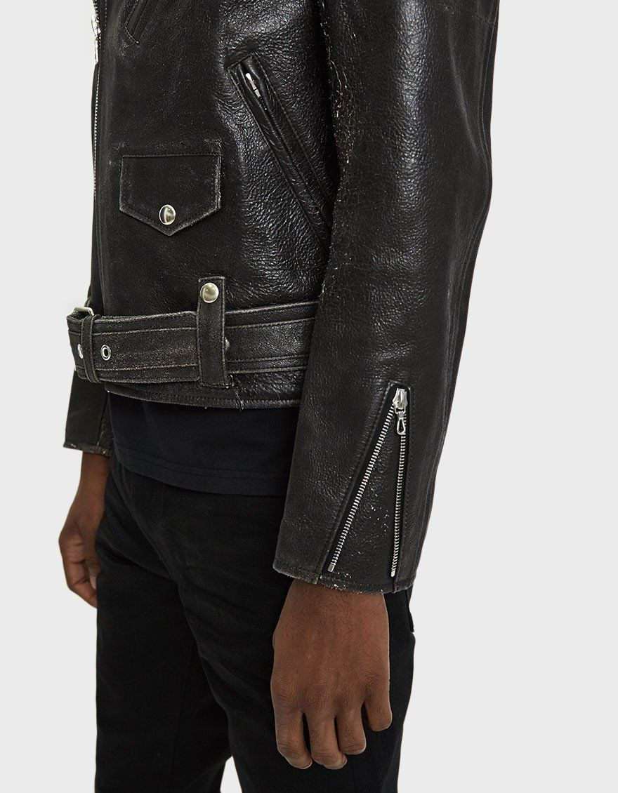 John Elliott Blackmeans Rider S Jacket In Black Leather Jacket Celebrity Jackets Real Leather Jacket [ 1130 x 880 Pixel ]