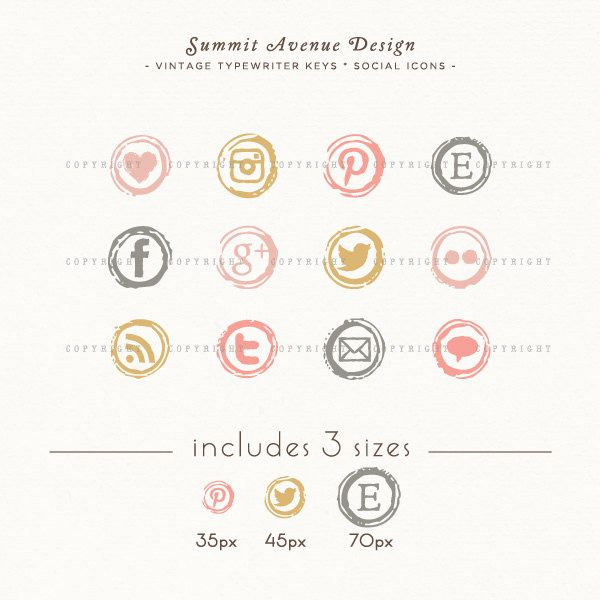 844a380dd5 INSTANT DOWNLOAD - Type Writer Keys Social Icons for your blog or website -  romantic blush colors. $6.00, via Etsy.