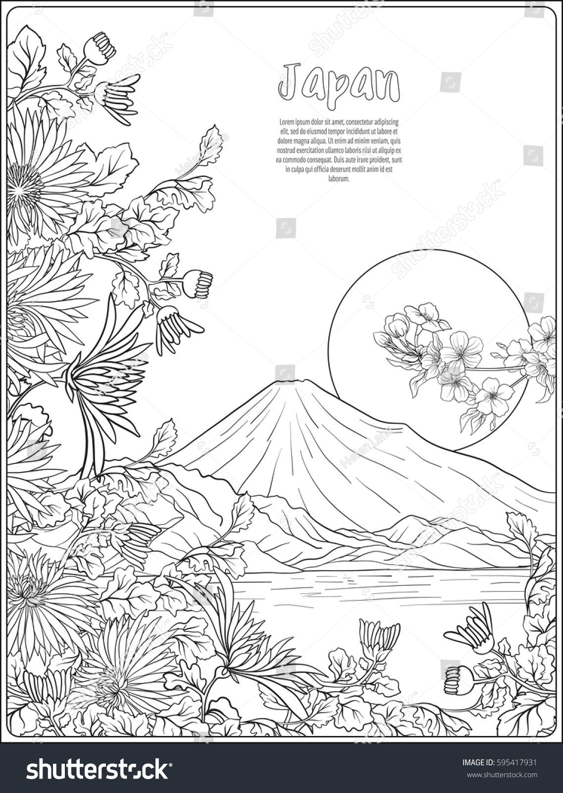 Japanese Landscape With Mount Fuji And Tradition Flowers And A Bird Outline Drawing Coloring Page Color Japanese Drawings Japanese Landscape Outline Drawings
