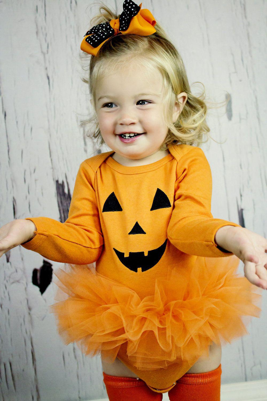 Jack O Lantern Baby Girl Tutu Bodysuit And Leg Warmer Set