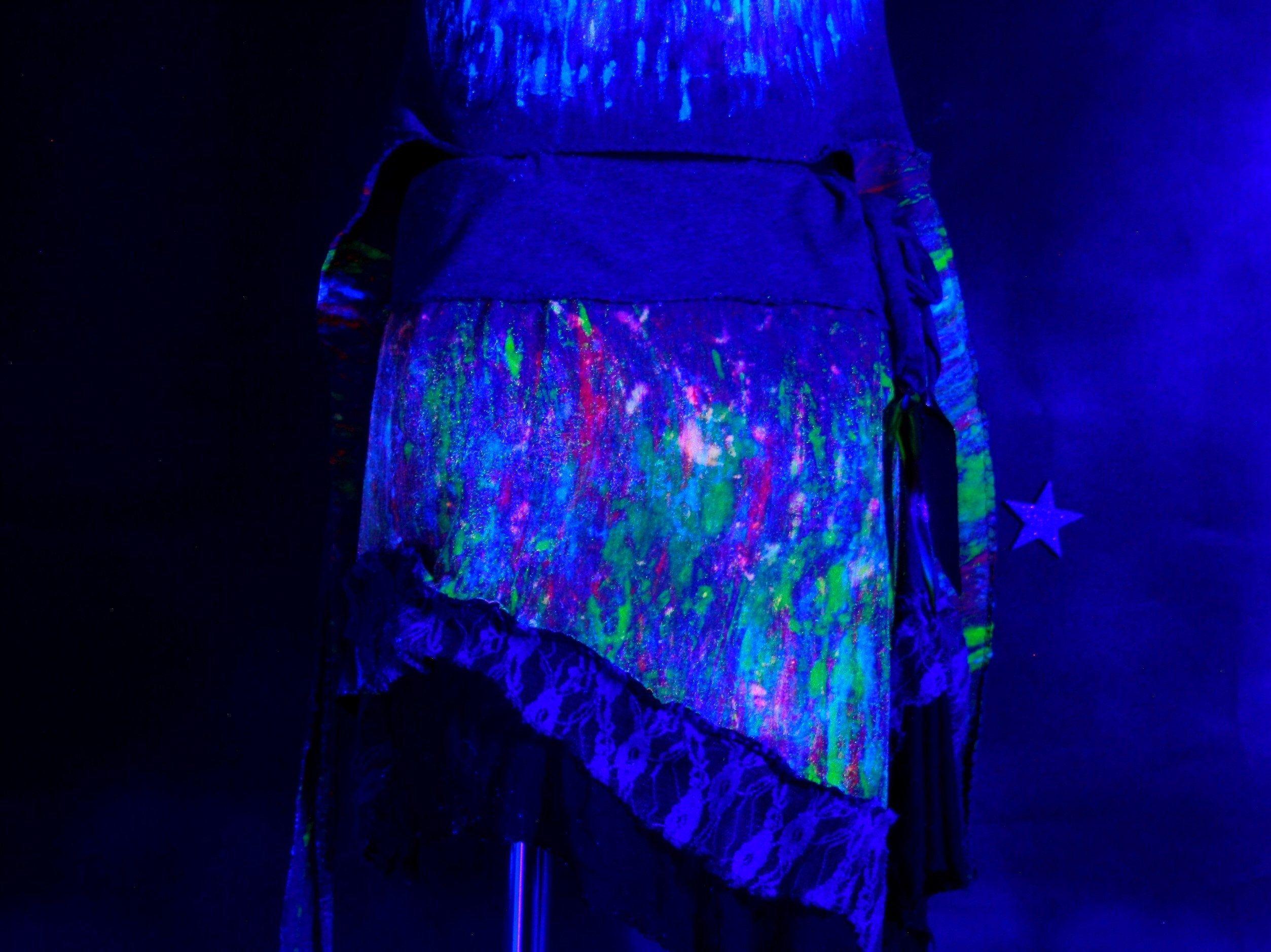Blacklight Skirt Pixie Skirt Goa Zipfelrock Etsy Pixie Skirt Black Light Pixie