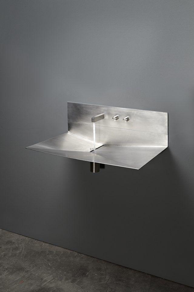Évier inox et vasque en Corian- 2 lavabos minimalistes de design ...