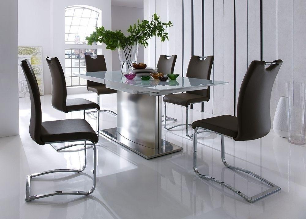 Essgruppe Margit Esstisch ausziehbar Weiß mit 8 Stühlen Braun 5759 - küchentisch mit stühlen
