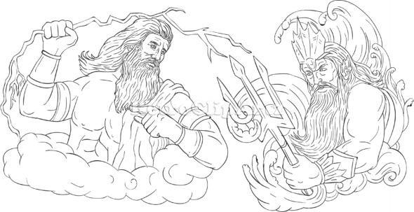 Zeus Vs Poseidon Black And White Drawing Vector Stock Illustration Drawing Sketch Style Illustr Black And White Drawing Retro Illustration Stock Illustration