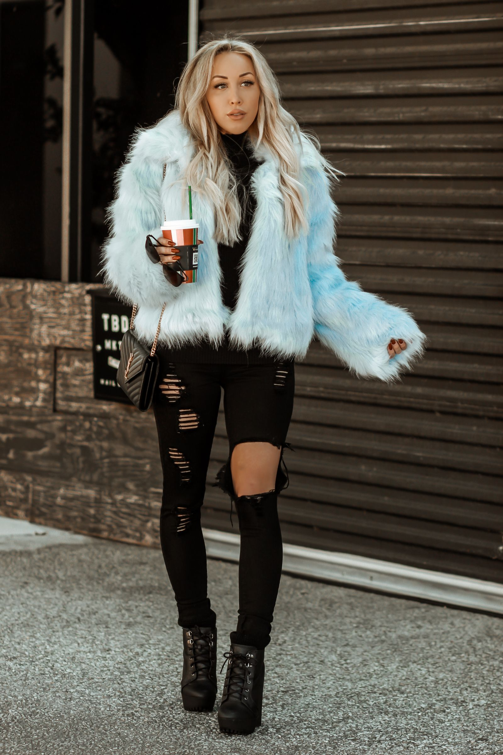 Baby Blue Faux Fur Blondie In The City Blue Faux Fur Coat Fur Coat Outfit Winter Winter Coat Outfits
