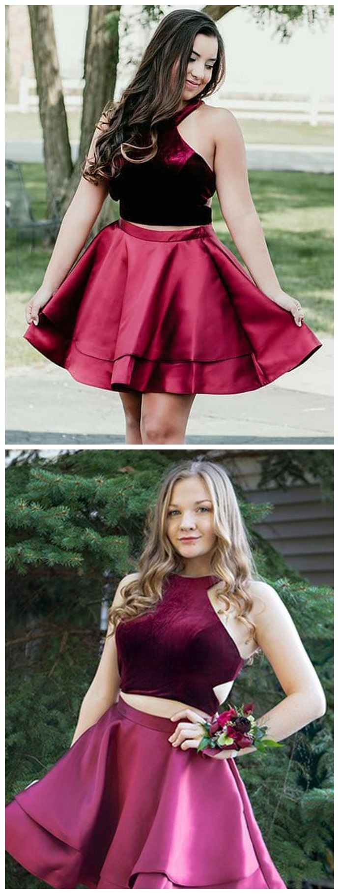 Princess burgundy taffeta two piece homecoming dresses with pocket