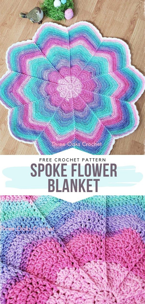 How to Crochet Spoke Flower Blanket