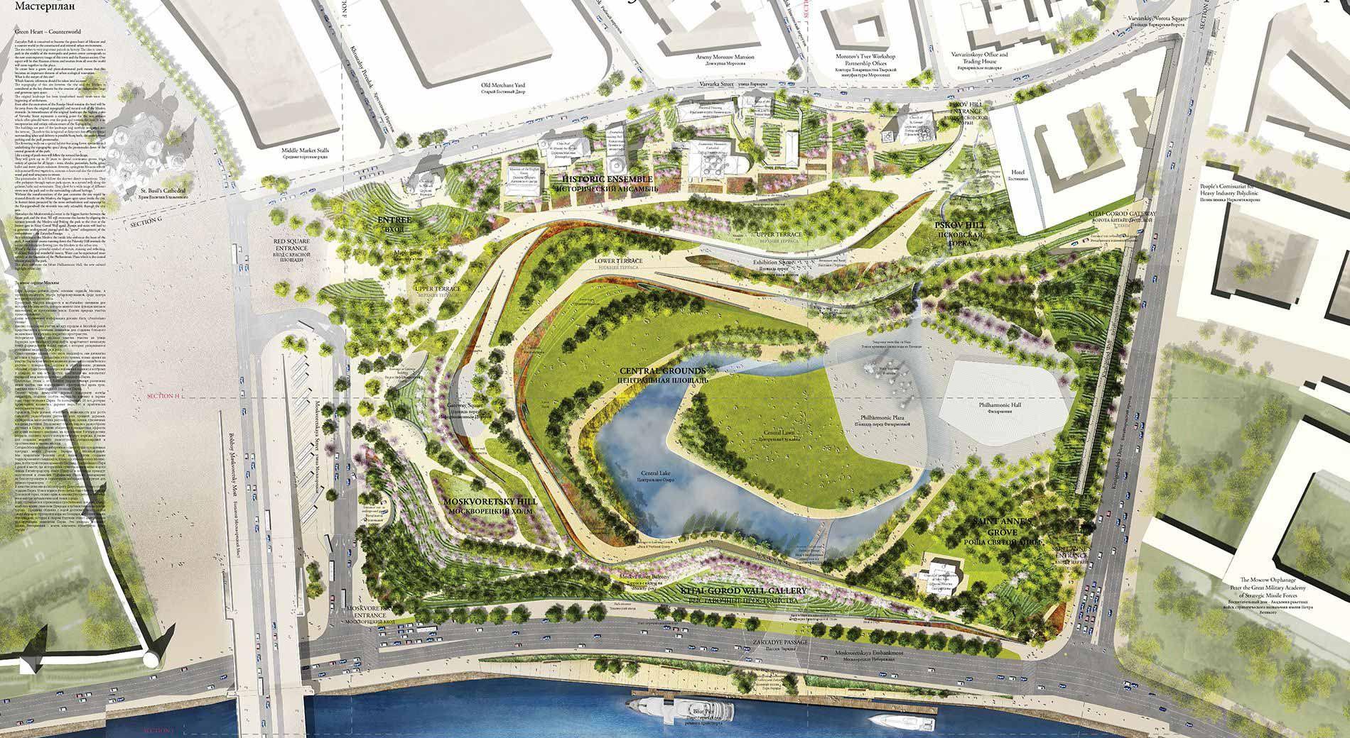 Zaryadye Park Landscape Architecture Works Landezine Landshaftnye Plany Generalnyj Plan Parka