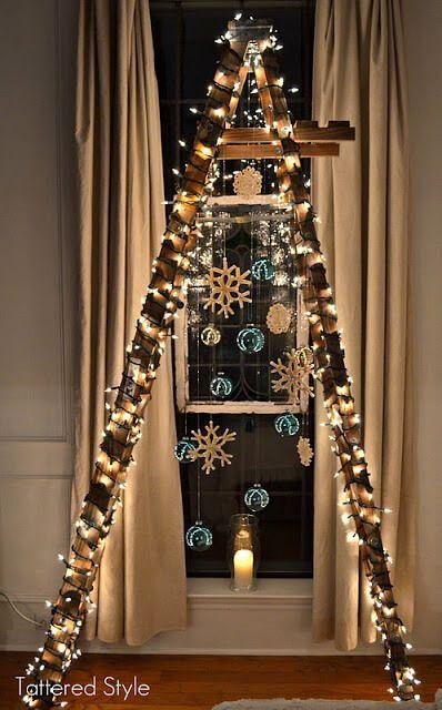diy weihnachtsbaum bastelideen leiter zu weihnachten. Black Bedroom Furniture Sets. Home Design Ideas
