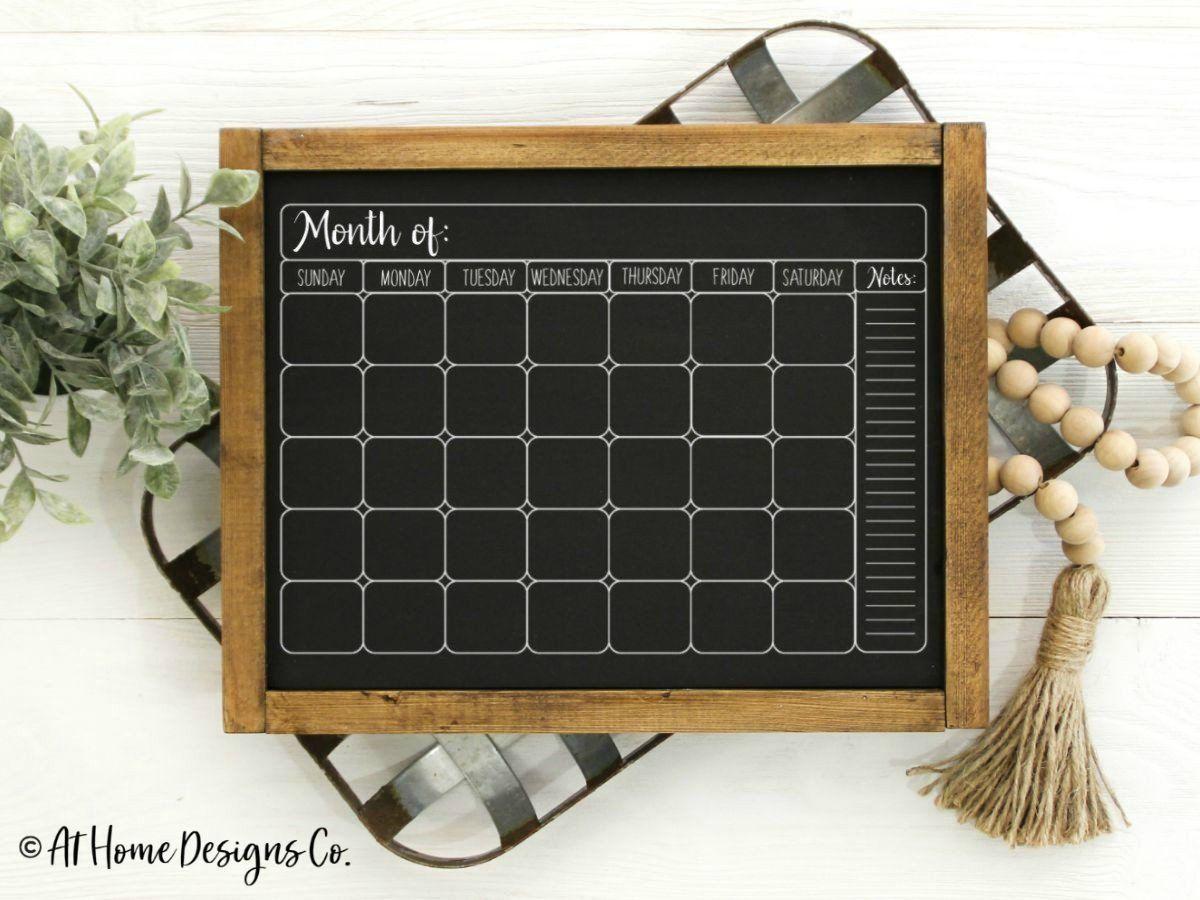 Monthly Chalkboard Calendar Svg Chalkboard Calendar Blank Etsy Chalkboard Calendar Chalkboard Organizer Calendar Template