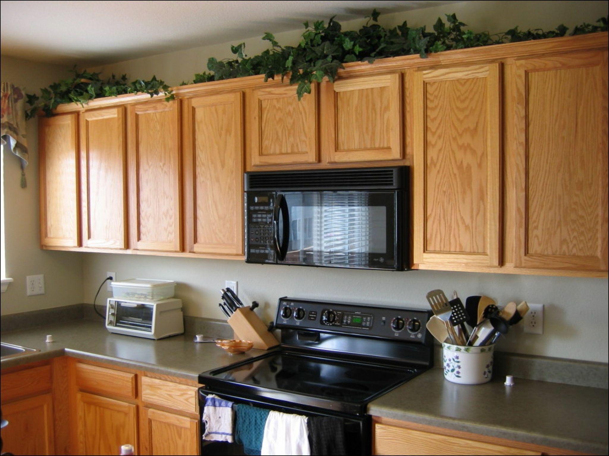 greenery above kitchen cabinets - diy kitchen countertop ...