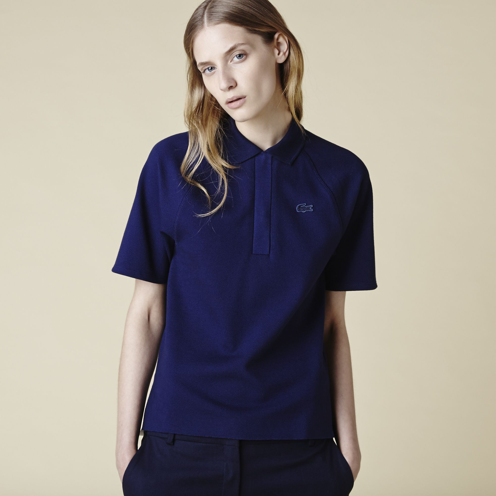 Navy blue/white - Polo with piped button placket | LACOSTE