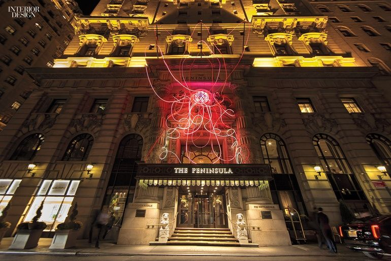 2016 CODAawards Honor the Best Unions of Art and Design | Grimanesa Amorós and Circa 1881. Pink Lotus, an LED sculpture that appeared on the lanmarked facade of the Peninsula New York hotel to increase visibility for Breat Cancer Awareness Month. #design #interiordesignmagazine #interiordesign #projects #hospitality