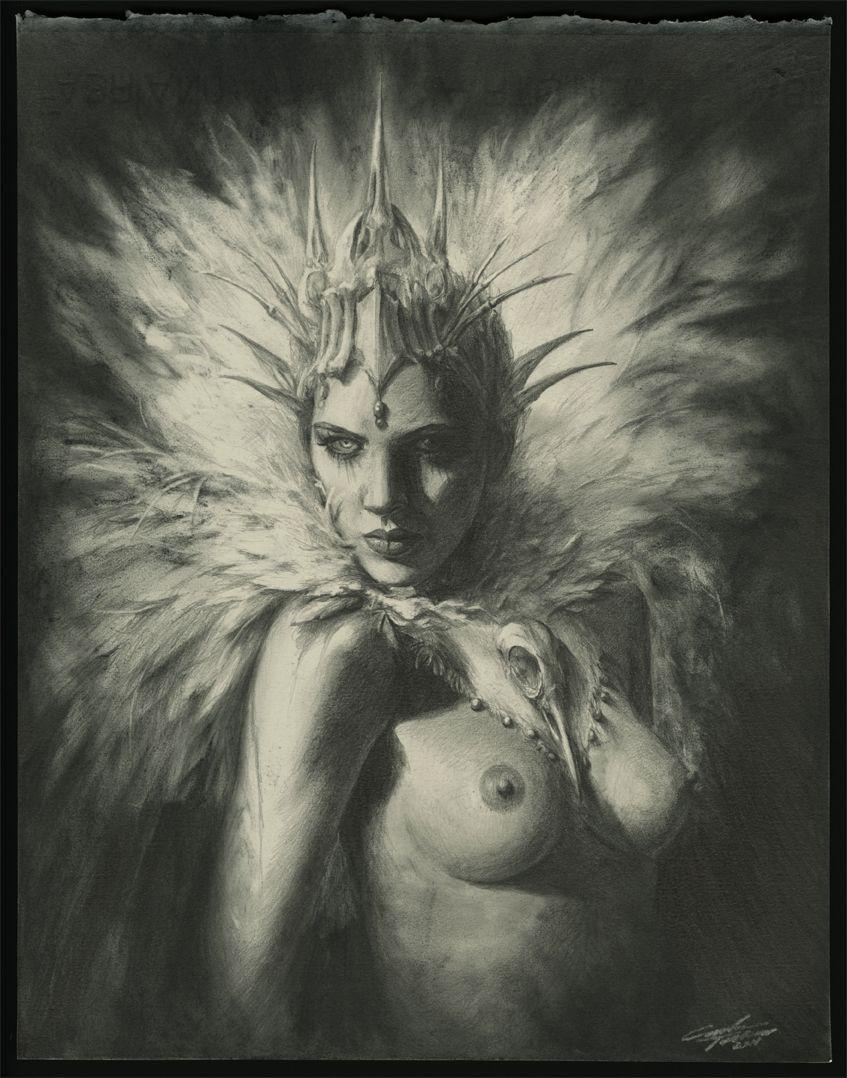 """white raven"" graphite on paper carlostorresart.com"