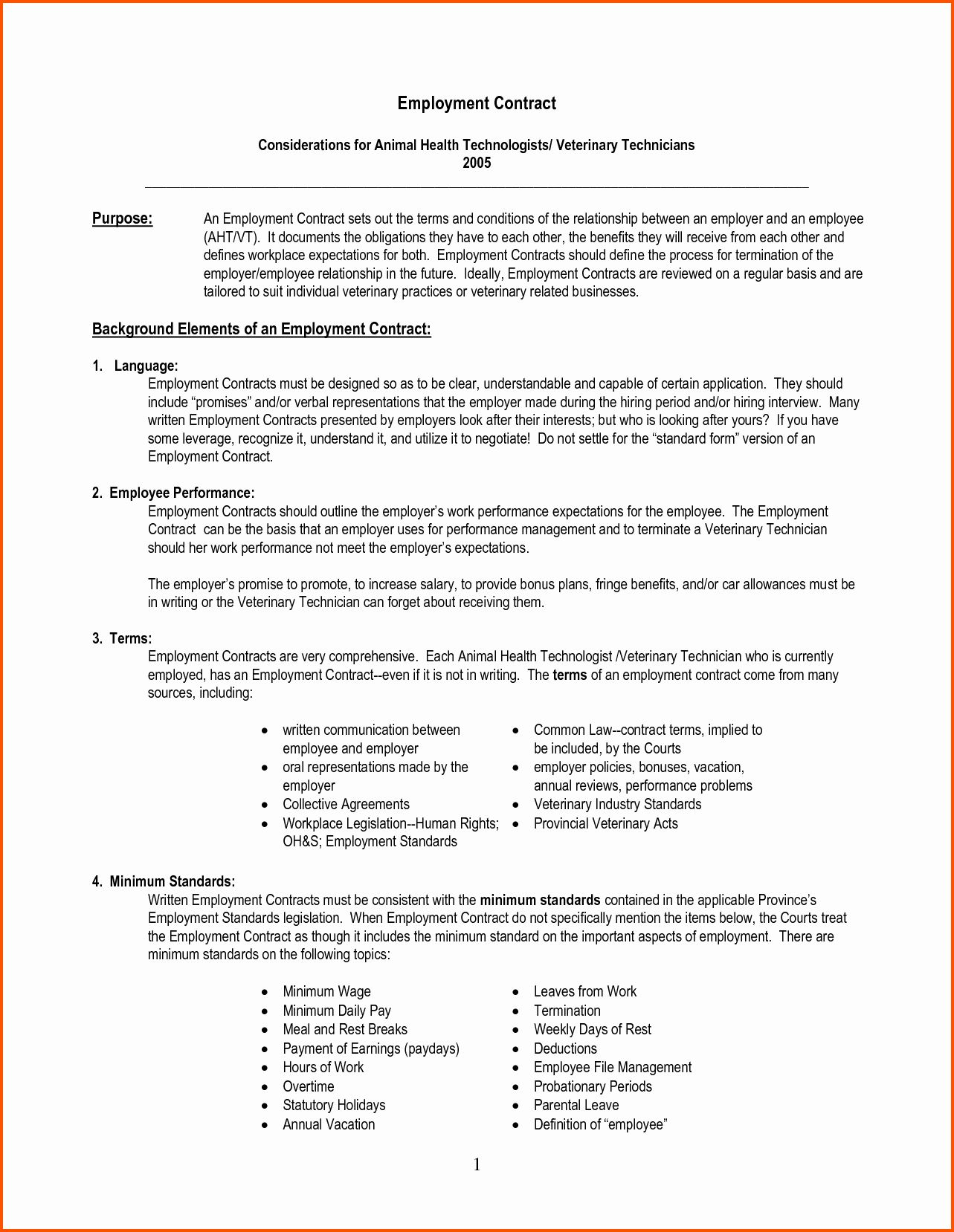 Beautiful Free Employment Contract Template Word in 2020