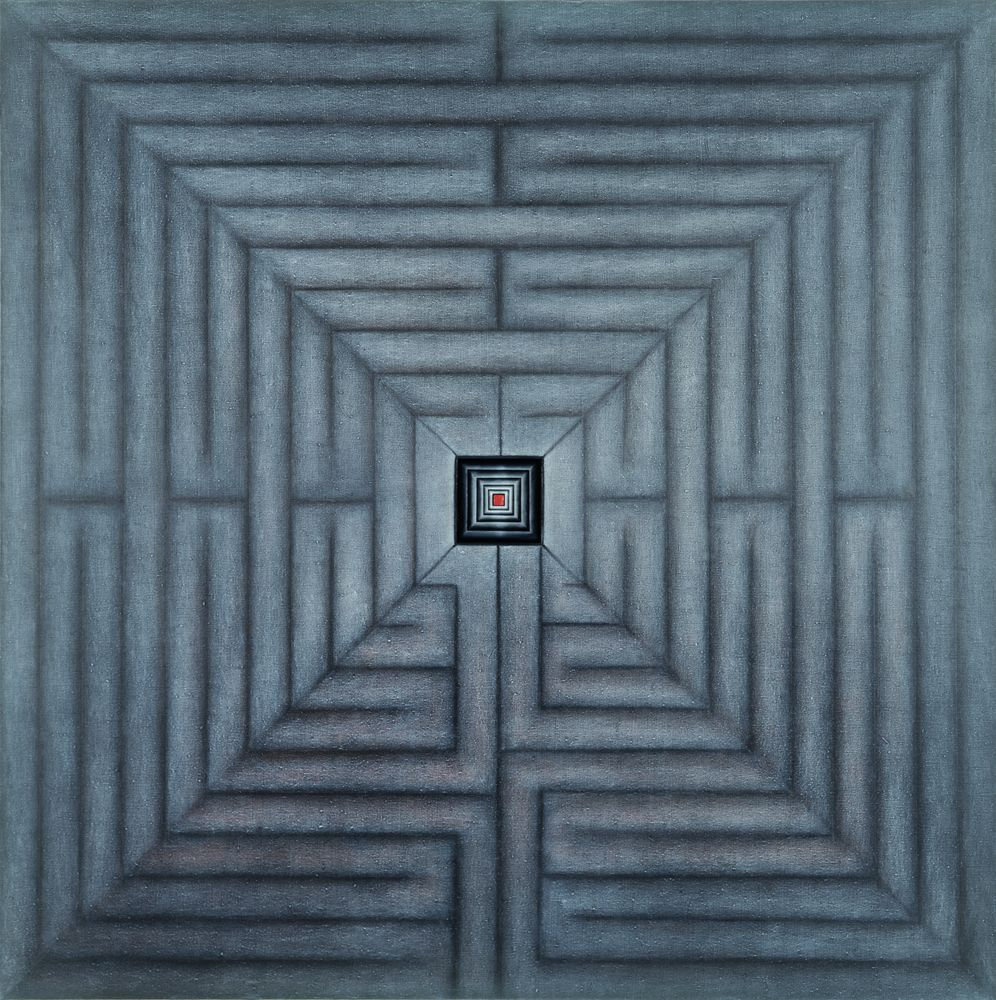 Marion Borgelt <i>Cretian Memory</i>; 1996;  oil, pigment, beeswax on Belgian linen;  198 x 198 x 8 cm