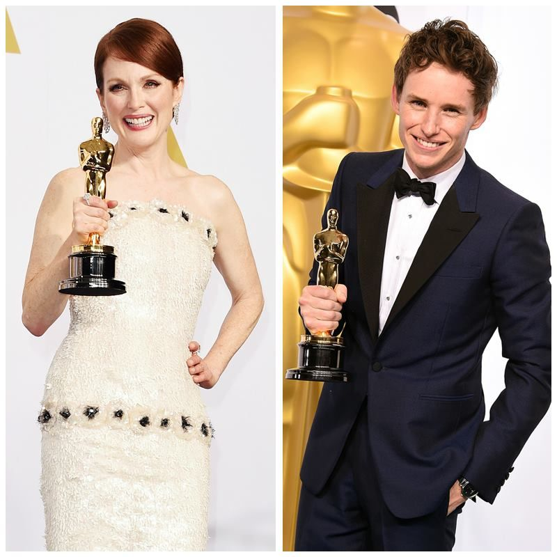 #Julianne Moore and #Eddie Redmayne show off their #Oscars and #Chopard accessories! Discover the Chopard brand at CH Premier.