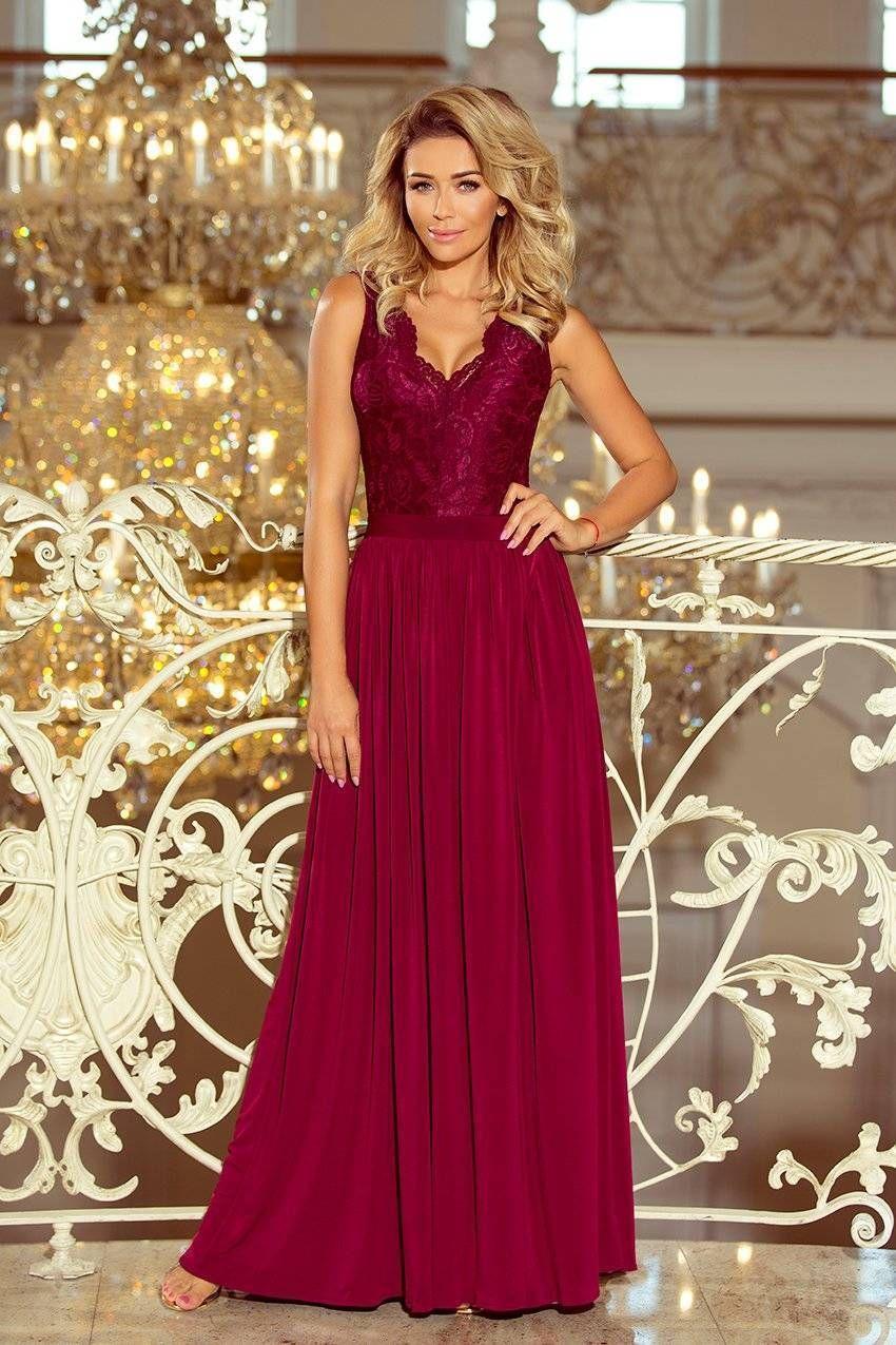 0132418f94 Długa Sukienka z Koronkową Górą Bordowa NU211-2 w 2019