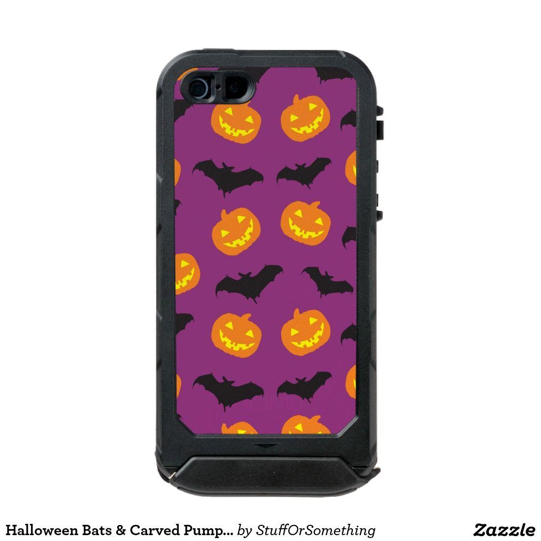 Halloween Bats & Carved Pumpkins on Purple Incipio ATLAS ID™ iPhone 5 Case