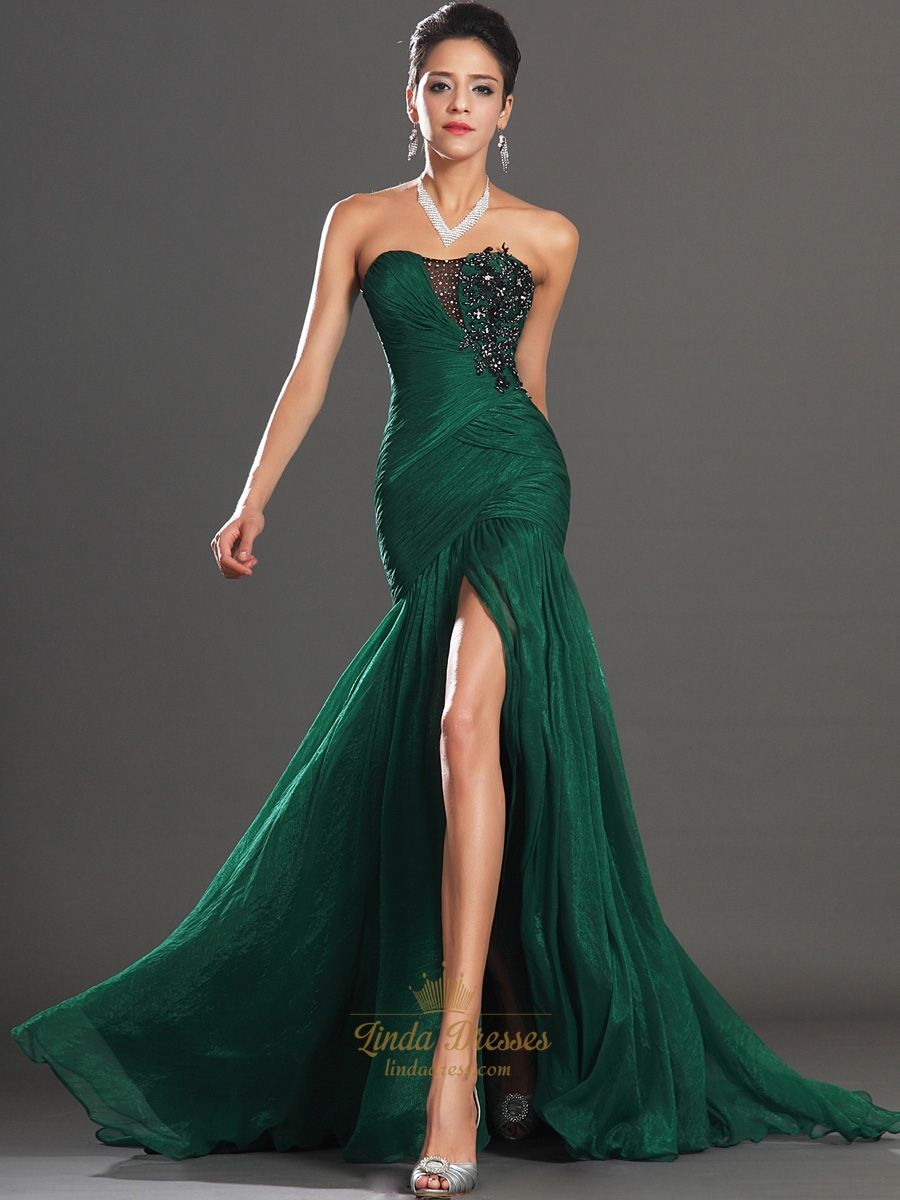 Emerald Chiffon Prom Dress