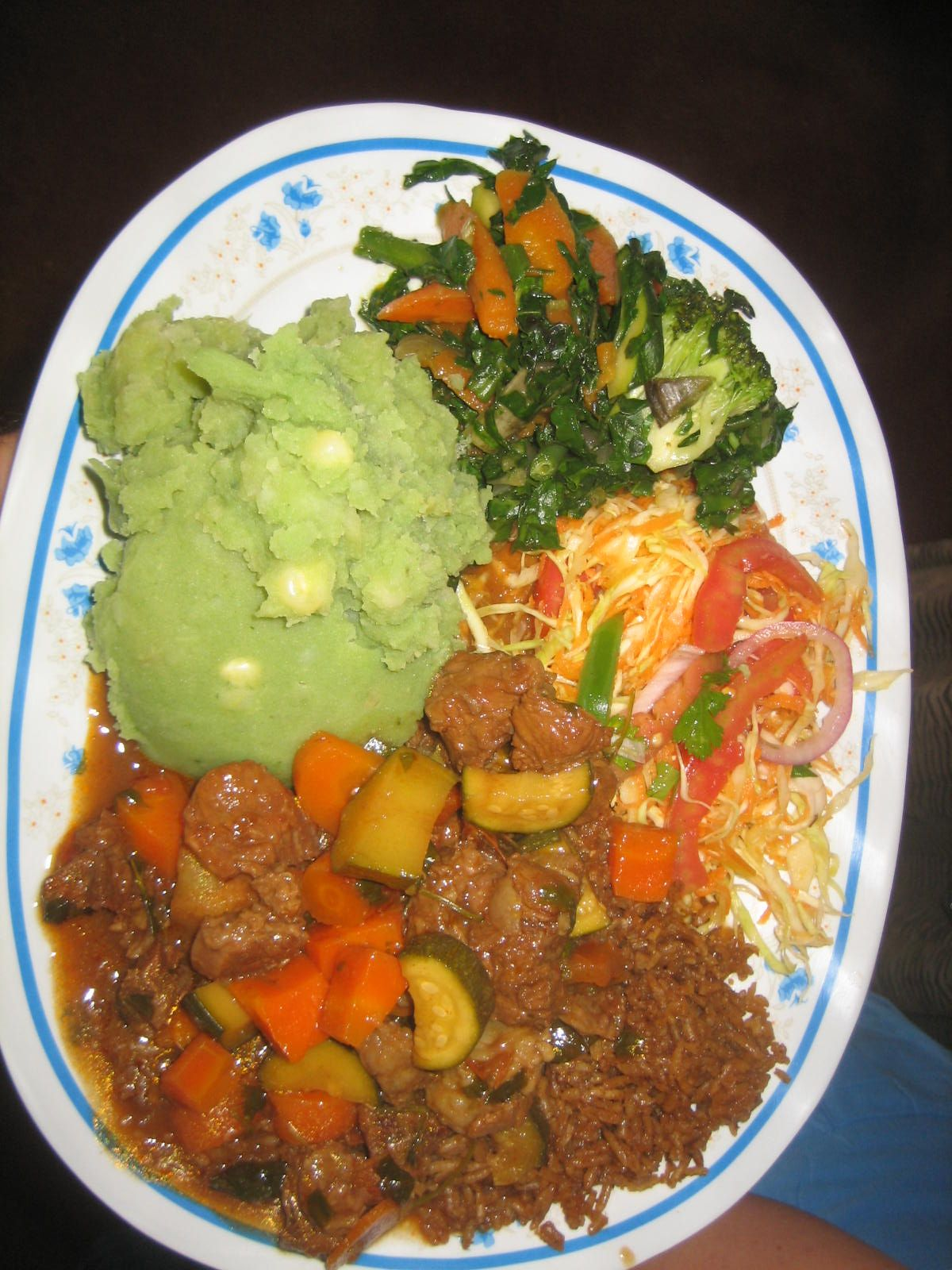 Beef Stew Irio Rice Pilau Sukuma And Kachumbari Anne