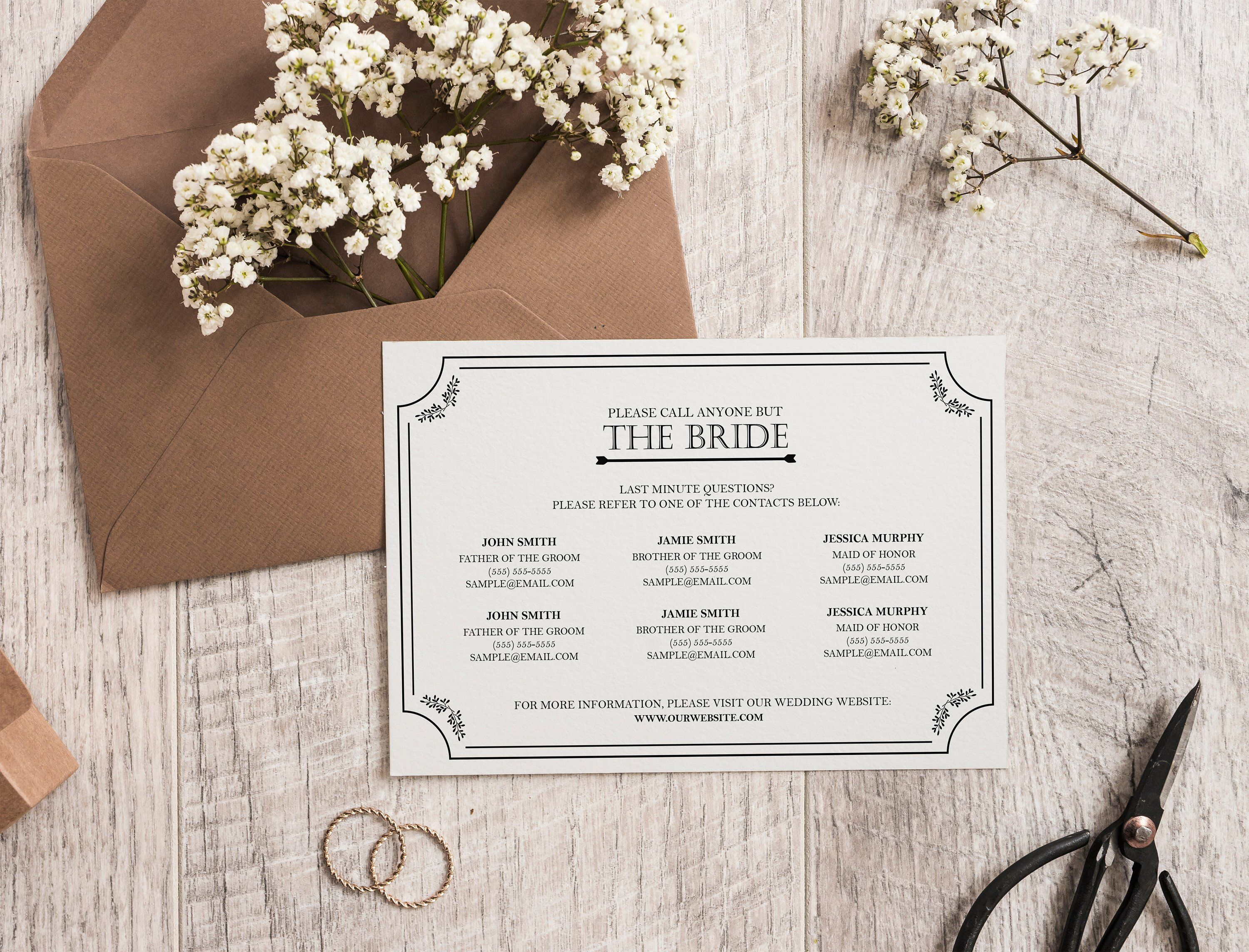 Call Anyone But The Bride Card // Wedding Phone Number Contact