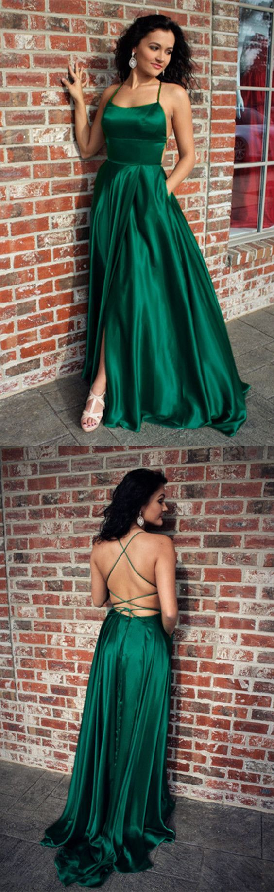 f1a075a3e2ae47 Long Green Satin Open Back Prom Dresses Leg Slit Evening Gowns ...