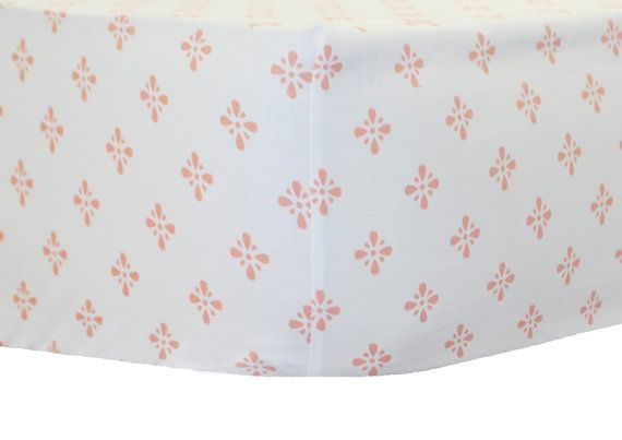 Starburst in Coral Cotton Crib Sheet for Girl  by NewArrivalsInc