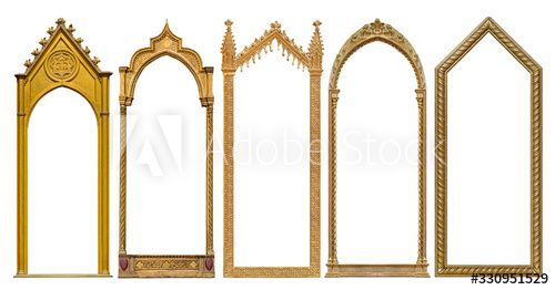 Photo of Set of golden gothic frames for paintings, mirrors or photo isolated on white background