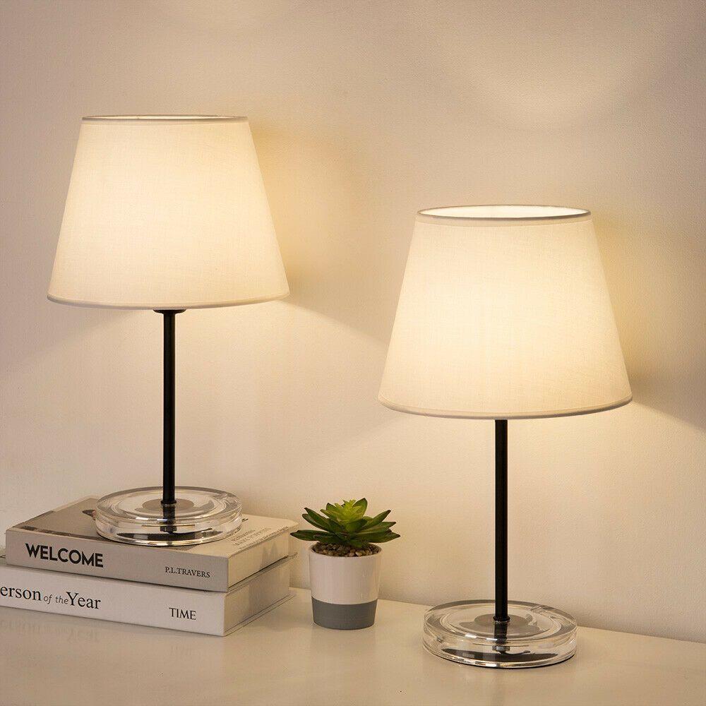 2pcs Fabric Table Lamp White Acrylic Plastic Base Durable Simple E26 Bulb Light 2pcs Acrylic Base Bulb Durable E26 Fabric Lamp Light Plastic Simpl In 2020