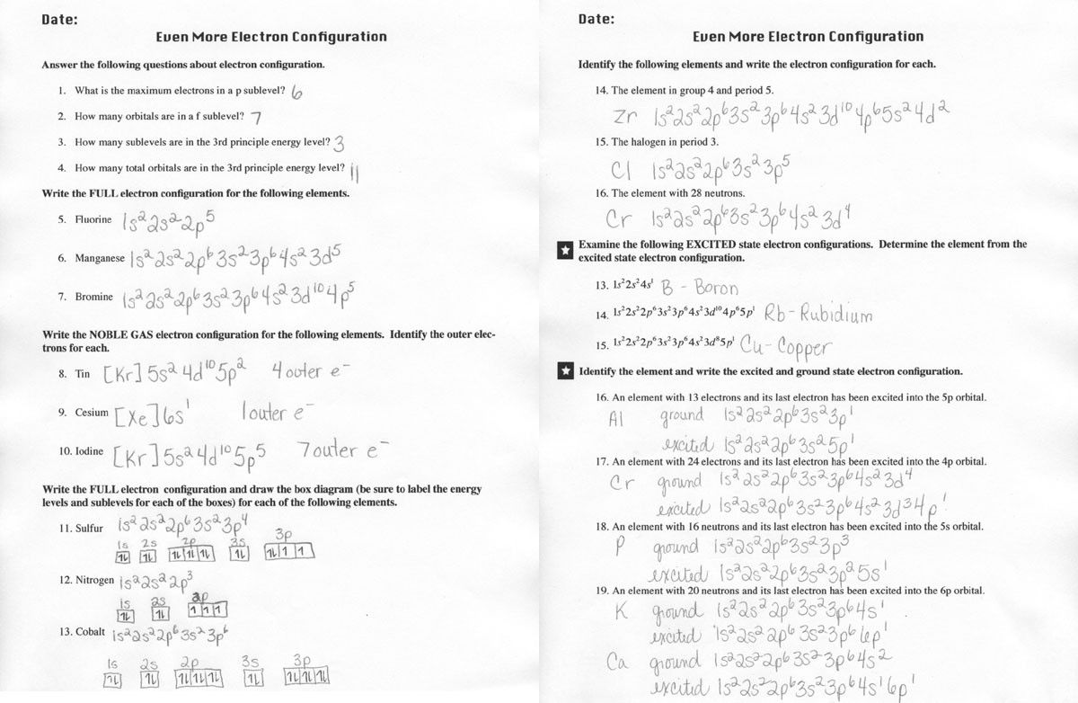 Electron Configuration Worksheet Answers Key In