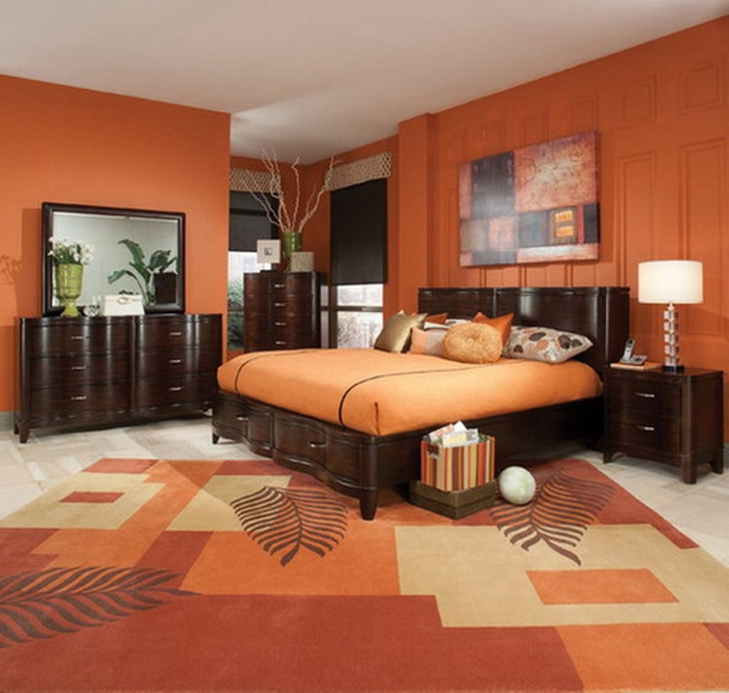 Orange Bedroom Ideas With Dark Brown Furniture Design Using Nice Painting And Elegant Printed Carpet O Bedroom Orange Orange Bedroom Walls Orange Bedroom Decor