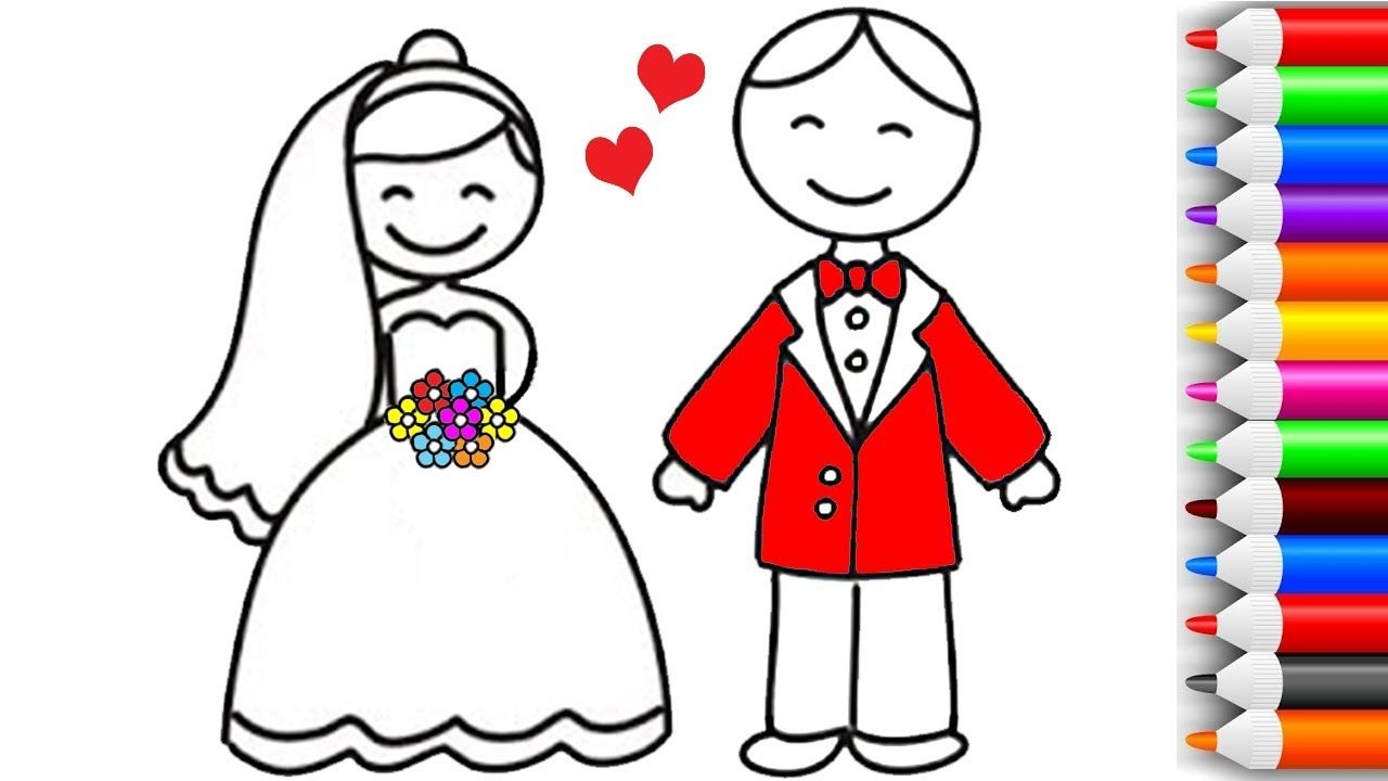 How to Draw and Color Baby Bride and Groom Coloring Pages | Play ...