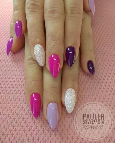 Glitter Nails Nailart Designs Pink Purple White Multicolored Nails Pink Nails Nail Designs