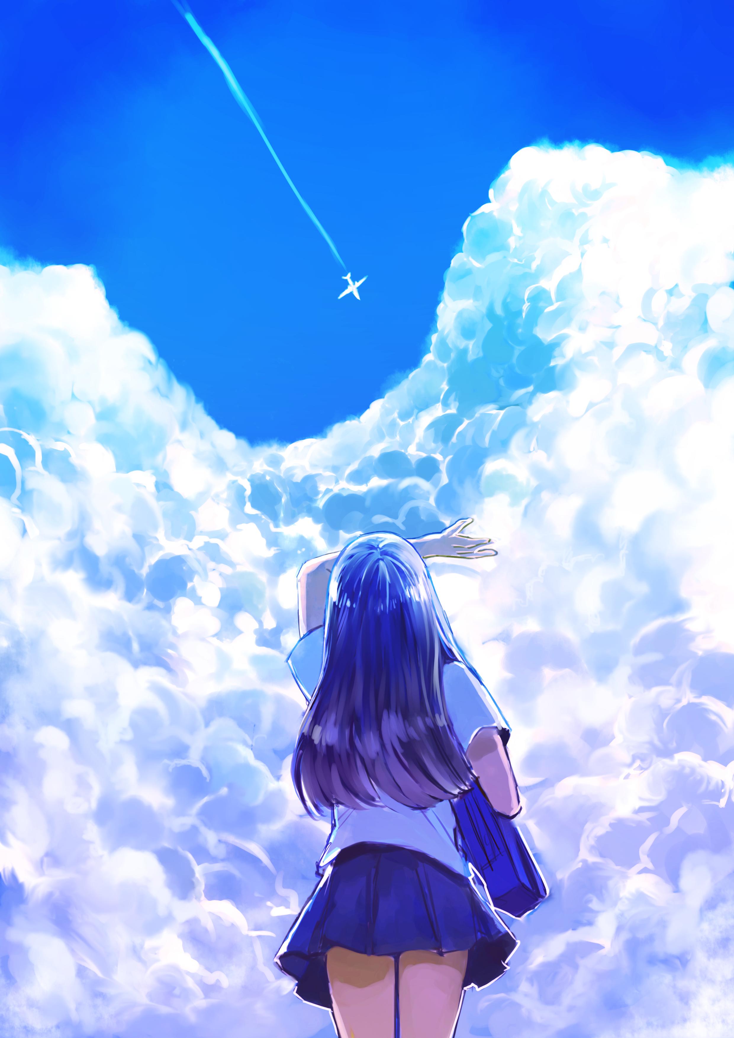 Pixiv Id 3666060 Devushka Oblaka Nebo Shkolnica Samolet Anime